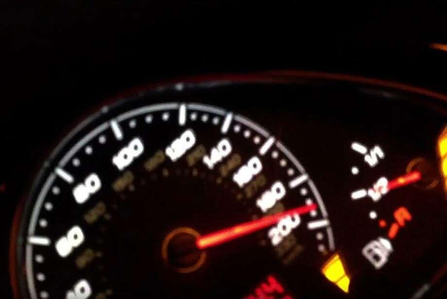 Screen shot of Shaun Davis' odometer reaching 192 miles per hour. Photo: Northampton Police Dept.