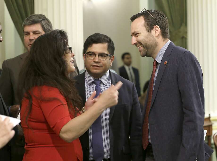 State Sen. Benjamin Allen (right), with Assembly members Lorena Gonzalez and Jimmy Gomez, says independent expenditure groups sent out negative ads on his behalf without his approval. Photo: Rich Pedroncelli, Associated Press