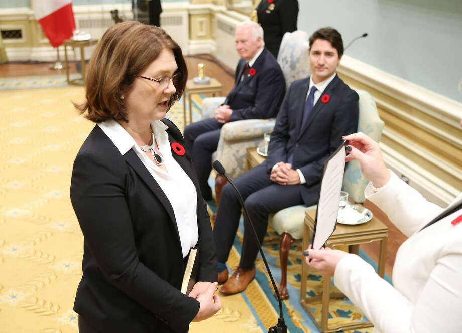 The health minister in Canada's new Cabinet, Jane Philpott, is sworn in at Rideau Hall in Ottawa on Wednesday. Photo: Chris Wattie, AFP / Getty Images