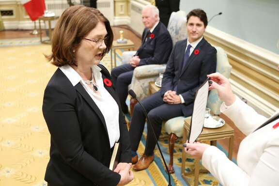 Canada's new Health Minister Jane Philpott is sworn-in during a ceremony at Rideau Hall in Ottawa November 4, 2015. AFP PHOTO/POOL/CHRIS WATTIECHRIS WATTIE/AFP/Getty Images