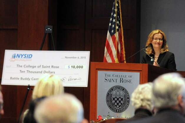 College of Saint Rose President, Carolyn J. Stefanco speaks during a dedication ceremony for The College of Saint Rose Veteran Center on Friday, Nov. 6, 2015, in Albany, N.Y.  (Michael P. Farrell/Times Union) Photo: Michael P. Farrell / 00034082A