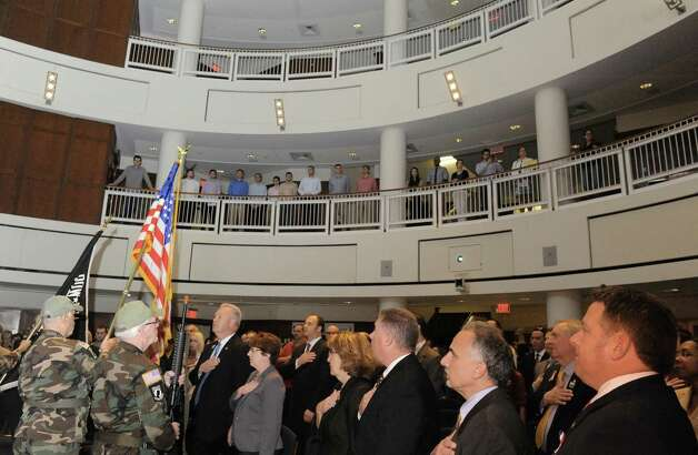 The Tri-County Council Vietnam Era Veterans color guard posts the colors during a dedication ceremony for The College of Saint Rose Veteran Center on Friday, Nov. 6, 2015, in Albany, N.Y.  (Michael P. Farrell/Times Union) Photo: Michael P. Farrell / 00034082A