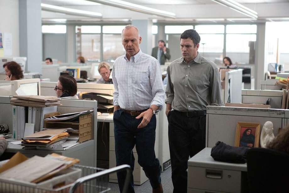 Michael Keaton (left) is Walter Robinson, investigative team leader; Mark Ruffalo is reporter Michael Rezendes. Photo: Kerry Hayes, Associated Press