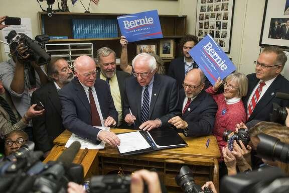 CONCORD, NH - NOVEMBER 05:  Democratic presidential candidate Sen. Bernie Sanders (I-VT) files paperwork for the New Hampshire primary at the State House on November 5, 2015 in Concord, New Hampshire. Each candidate must file paperwork to be on the New Hampshire primary ballot, which will be held February 9, 2016.  (Photo by Scott Eisen/Getty Images)
