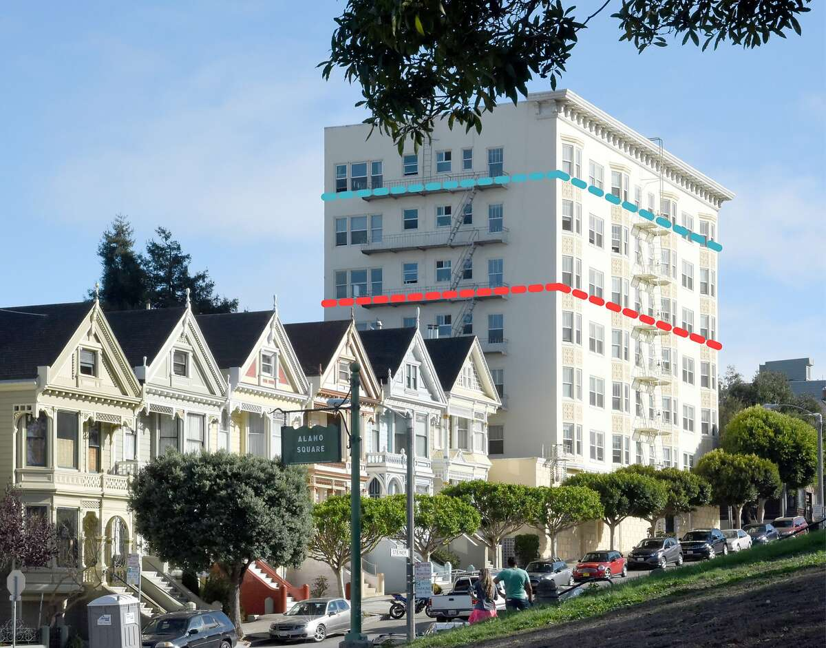 """As San Francisco planners propose an """"affordable housing bonus program"""" for about one-fifth of the city, supporters point out many older buildings exceed zoning imposed in the 1970s and '80s.This is the 2500 block of Steiner Street on Alamo Square, with a red line showing the current zoning and the blue line is what would be allowed with the housing bonus."""