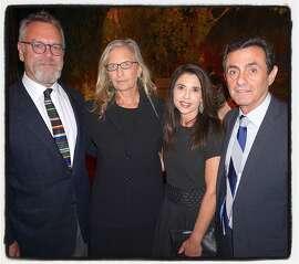 Nion McEvoy (left) with photographer Annie Leibovitz, MAC President Candace Cavanaugh and SFMOMA Director Neal Benezra. Nov 2015.