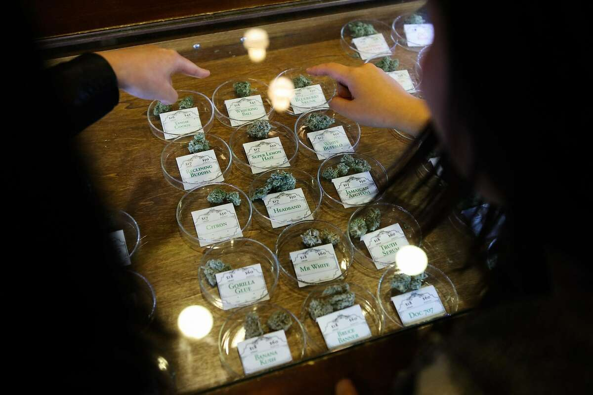 Monica Lo (right) and roommate Tiffany Wu (left), look at various strains of cannabis at their local dispensary on Post Street, in San Francisco, California on Friday, November 6, 2015. The duo are childhood friends who formed an organization called AsianAmericans for Cannabis, to help build support among the Asian community to support legalization.