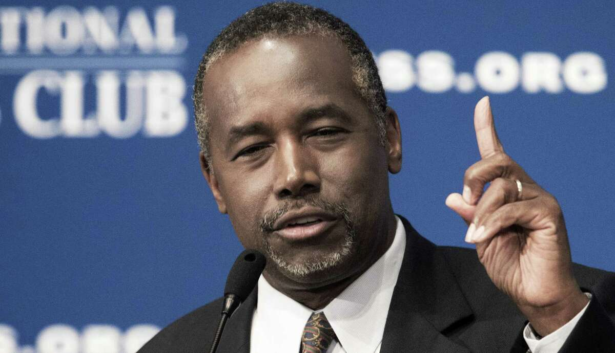 (FILES) This October 9, 2015 file photo shows Republican presidential candidate Ben Carson as he discusses his new book, titled,