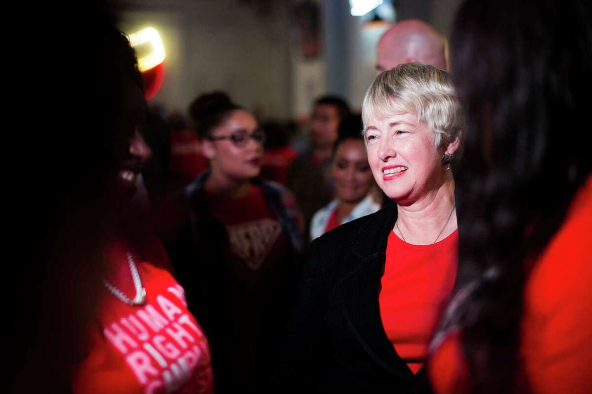 Houston Mayor Annise Parker arrives to the election night party for the Houston Equal Rights Ordinance during the election night watch party for HERO, Tuesday, Nov. 3, 2015, in Houston. ( Marie D. De Jesus / Houston Chronicle )