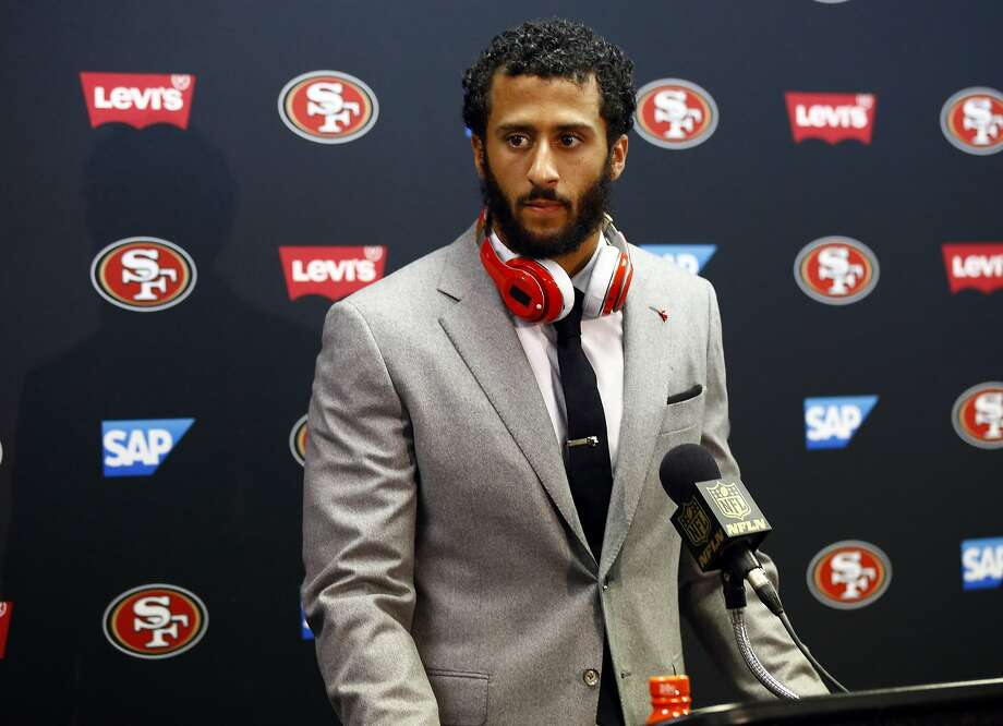 San Francisco 49ers quarterback Colin Kaepernick speaks during a news conference following an NFL football game against the St. Louis Rams Sunday, Nov. 1, 2015, in St. Louis. The Rams won 27-6. (AP Photo/Billy Hurst) Photo: Billy Hurst, Associated Press