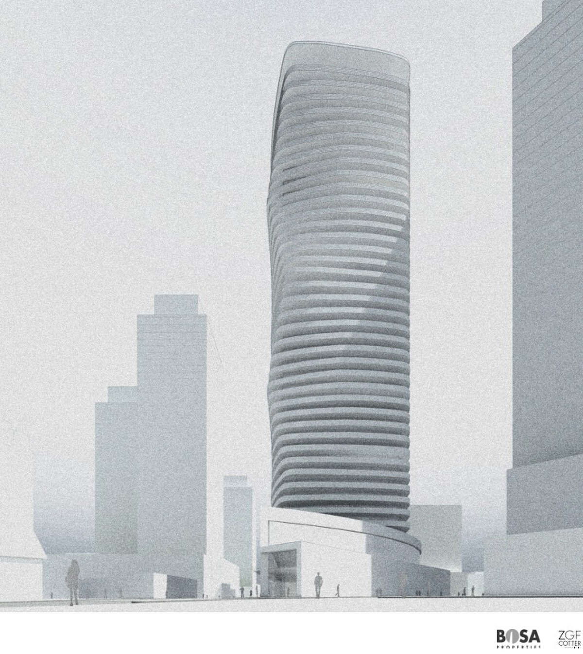 This rendering shows the twisty-turny exterior of the the proposed 41-story residential tower at Denny Way and Fairview Avenue.