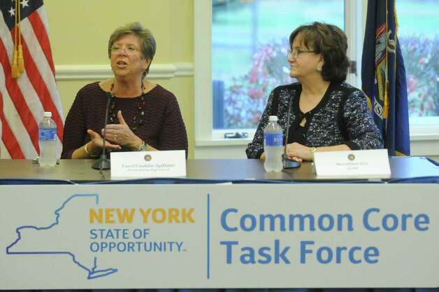 Sleepy Hollow High Principal Carol Conklin-Spillane, left, and New York State Ed Commissioner MaryEllen Elia during a public hearing held by the New York State Common Core Task Force at The Crossings on Friday Nov. 6, 2015 in Colonie, N.Y.  (Michael P. Farrell/Times Union) Photo: Michael P. Farrell / 00034130A