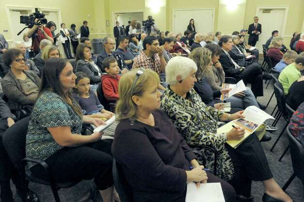The audience listens to speakers during a public hearing held by the New York State Common Core Task Force at The Crossings on Friday Nov. 6, 2015 in Colonie, N.Y.  (Michael P. Farrell/Times Union) Photo: Michael P. Farrell / 00034130A