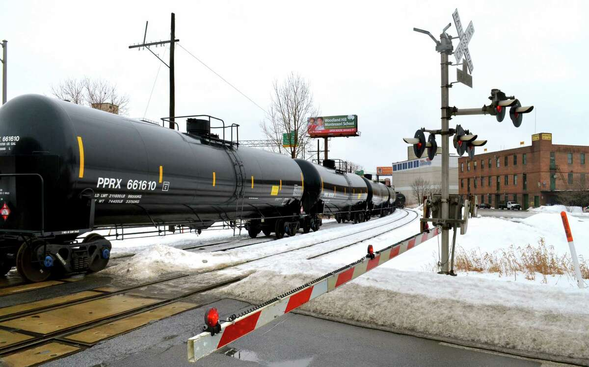 Tanker cars head into the Port of Albany, where oil brought in from the west is loaded onto tanker ships. Even if other pipeline projects fall through, rail shipping could ramp up to move a significant amount of oil.