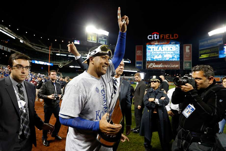 Agony to ecstasy: Salvador Perez, who made the final out of the 2014 World Series against the Giants, was selected the Most Valuable Player of this year's Series after his Royals won. Photo: Sean M. Haffey, Getty Images