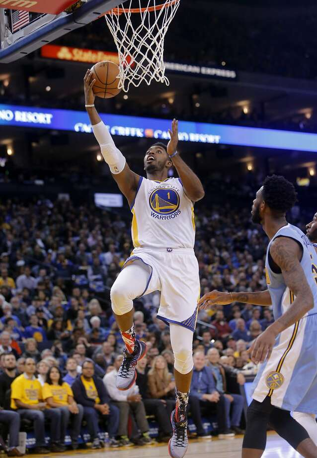 Warriors' Jason Thompson, 1 with a second quarter lay up, as the Golden Sate Warriors take on the Denver Nuggets at the Oracle Arena in Oakland, Calif. on Fri. November 6, 2015. Photo: Michael Macor, The Chronicle
