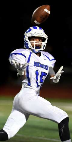 Shaker's Edwin Shields attempts a reception during their Class AA football championship game against Saratoga on Friday, Nov. 6, 2015, at Shenendehowa High in Clifton Park, N.Y. (Cindy Schultz / Times Union) Photo: Cindy Schultz / 00034111A