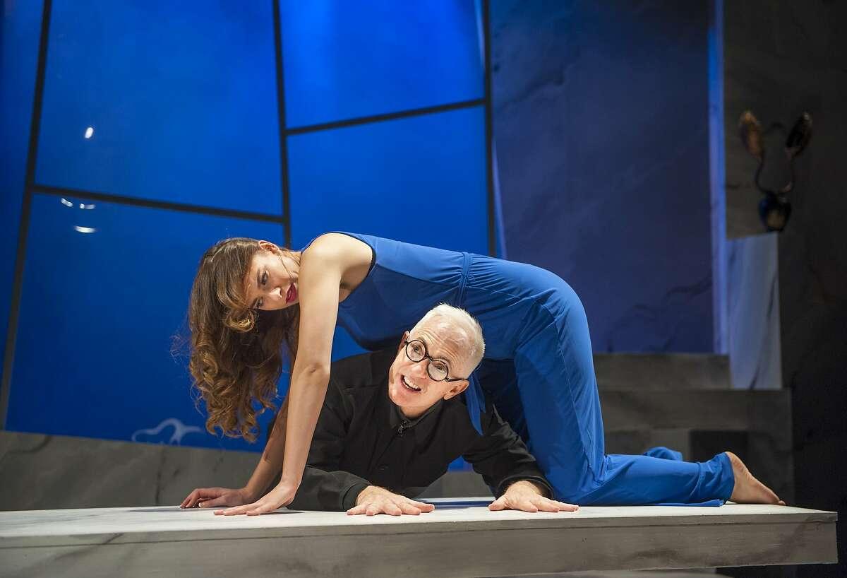 "Tamsin (Sierra Jolene) inspires Gregor (Danny Scheie) in Amy Freed's ""The Monster-Builder"" at Aurora Theatre"