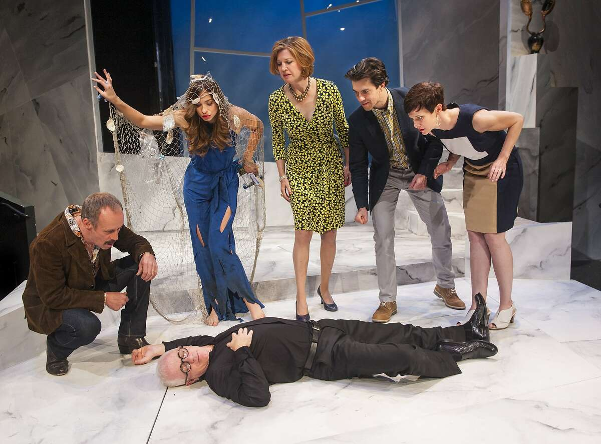 """Andy (Rod Gnapp, left), Tamsin (Sierra Jolene), Pamela (Nancy Carlin), Dieter (Thomas Gorrebeeck), and Rita (Tracy Hazas) contemplate the effect of their revenge on Gregor (Danny Scheie, prone) in Amy Freed's """"The Monster-Builder"""" at Aurora Theatre"""