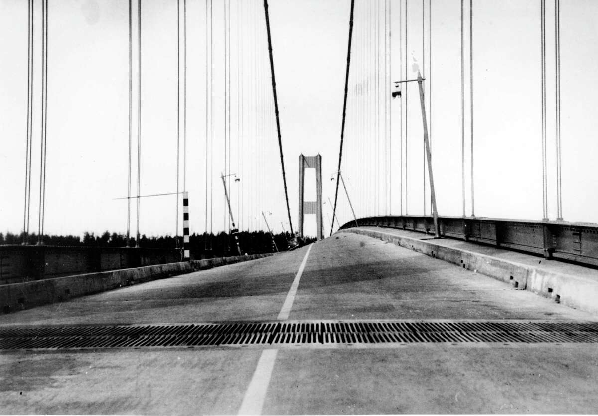 The Tacoma Narrows bridge wobbles under the force of a gale wind that eventually caused the structure to collapse in Tacoma, Wa., on Nov. 7, 1940.