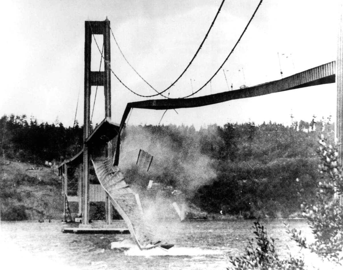 Gallery: Here are photos of the Tacoma Narrows or Galloping Gertie ... followed by other major bridge failures in history. Photo: A large section of the concrete roadway in the center span of the new Tacoma (Wash.) Narrows bridge hurtled into Puget Sound, Nov. 07, 1940. High winds caused the bridge to sway, undulate and finally collapse under the strain.