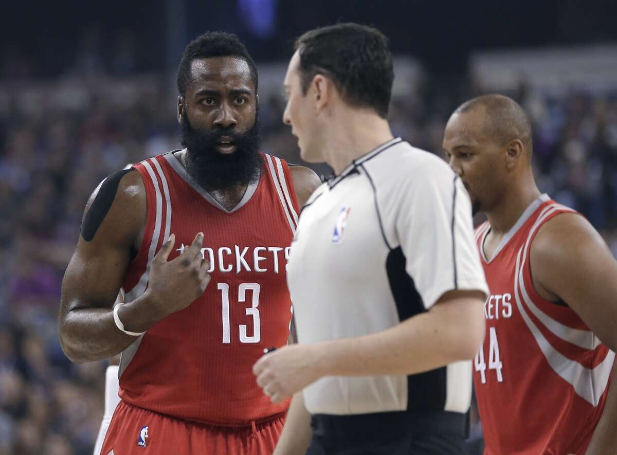FILE PHOTO: Houston Rockets guard James Harden (13) questions official Marat Kogut about a foul call during the first quarter of an NBA basketball game against the Sacramento Kings in Sacramento, Calif., Friday, Nov. 6, 2015.(AP Photo/Rich Pedroncelli)