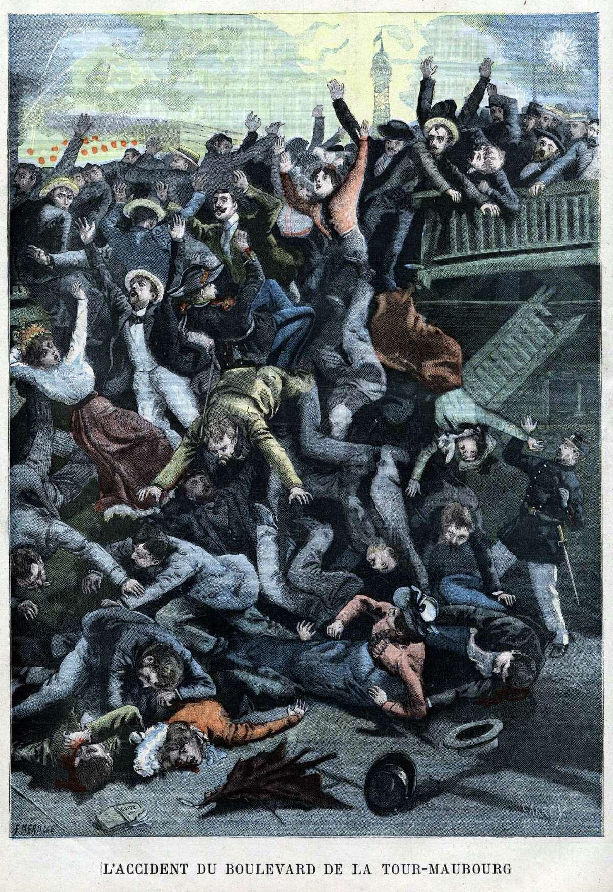 Collapse of a footbridge, during the 1900 Universal Exhibition, on the Boulevard de la Tour-Maubourg, in Paris, Illustration from French newspaper Le Petit Parisien, 1900,