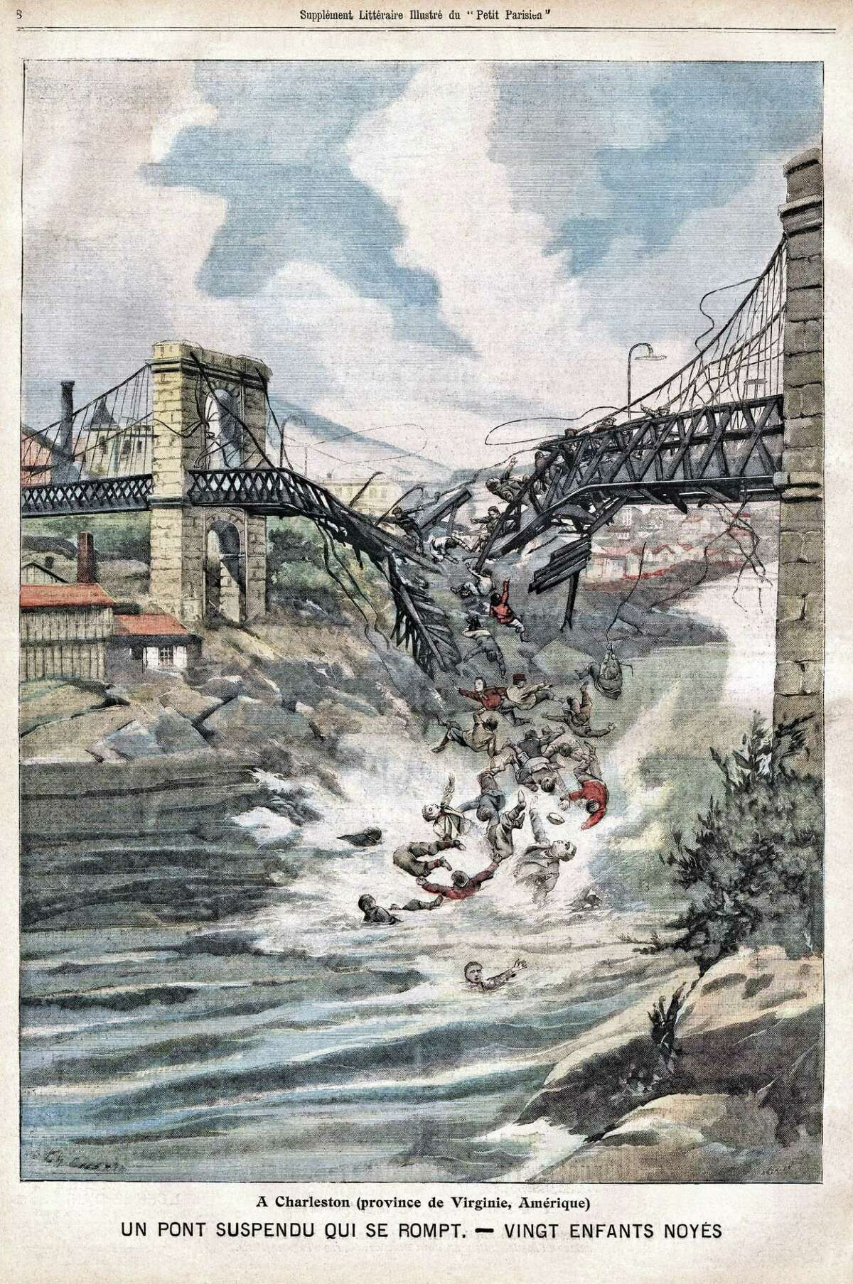 Death of twenty children in the collapse of a suspended bridge, in Charleston, USA, Illustration from French newspaper Le Petit Parisien, January 1st, 1905,