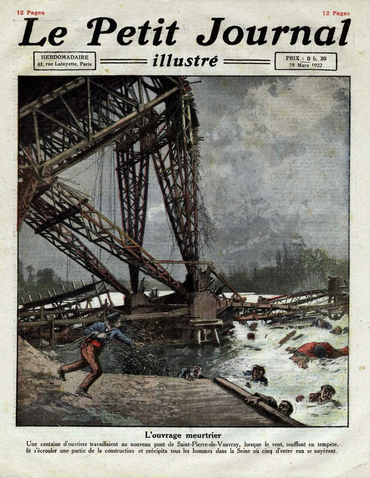 Collapse of the newly constructed Saint-Pierre-du-Vauvray Bridge during a storm, in Haute-Normandie, France, and drowning of five workmen in the river Seine, Frontpage of French newspaper Le Petit Journal Illustre, March 19, 1922, Private Collection