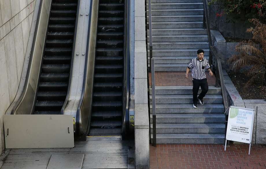 The escalators and elevators often reek of urine and feces — or are inoperable at the Powell Street BART Station. Photo: Michael Macor, The Chronicle