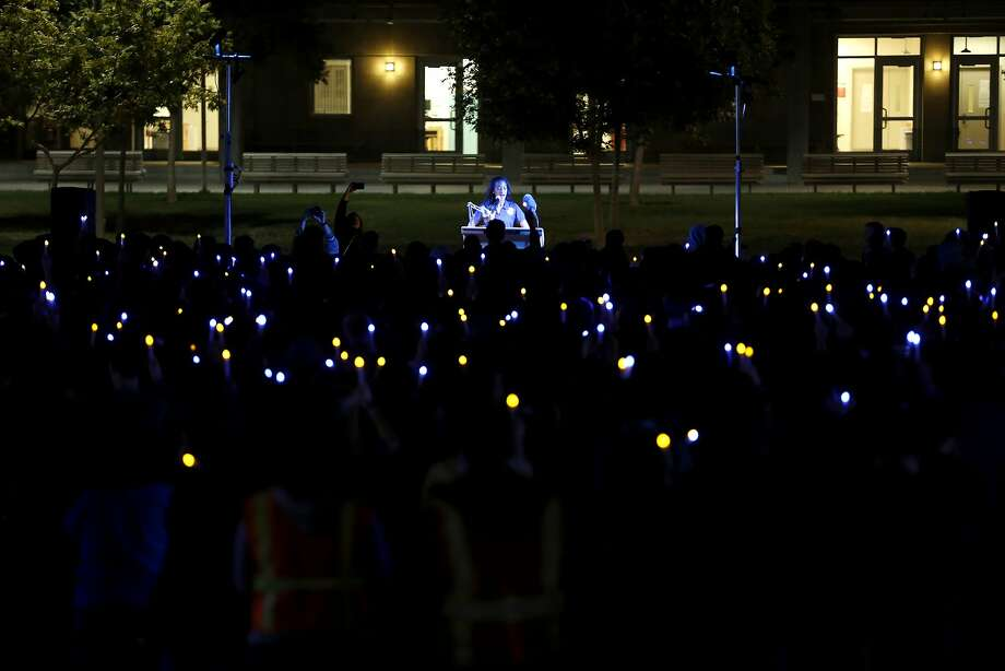 Associated Students of UC Merced President Domonique Jones speaks to hundreds of people during a vigil at UC Merced in Merced, California, on Friday, Nov. 6, 2015. Photo: Connor Radnovich, The Chronicle