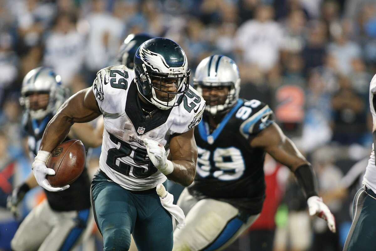 Philadelphia Eagles' running back DeMarco Murray (29) looks down field during the second half of an NFL football game against the Carolina Panthers in Charlotte, N.C., Oct. 25, 2015. The Panthers won 27-16.