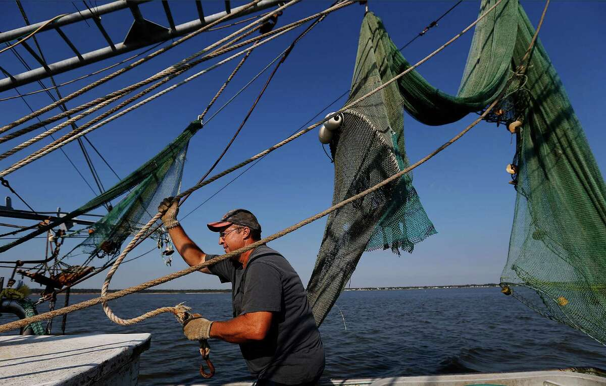 Shrimper Dwayne Harrison prepares his nets for shrimping in the Houston Ship Channel near Baytown, Texas late in the afternoon on Thursday, Oct. 29, 2015. Harrison's family has been in the seafood business for two generations. He bought his own boat after getting out of the petro-chemical business in the 90's and has been scratching to make a living ever since in shrimping. (Kin Man Hui/San Antonio Express-News)