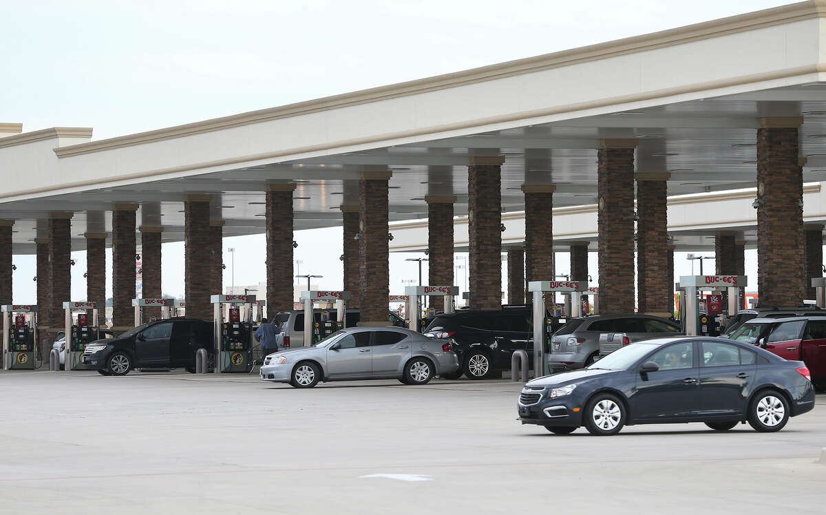 Customers flock to get gas at Bucee's on Interstate 35 in New Braunfels on Friday.
