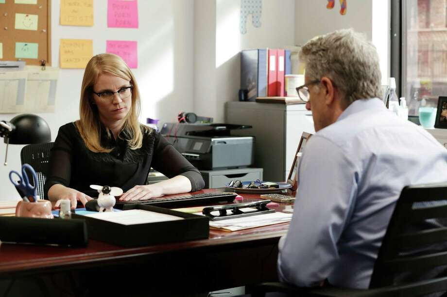 "In the ""Donny!"" episode ""I'm Middle Aged, Married and Coming Out!,"" Emily Tarver plays Donny's producer, Pam, and Donny Deutsch plays Donny. Photo: USA Network / Patrick Harbron / USA Network / 2015 USA Network Media, LLC"