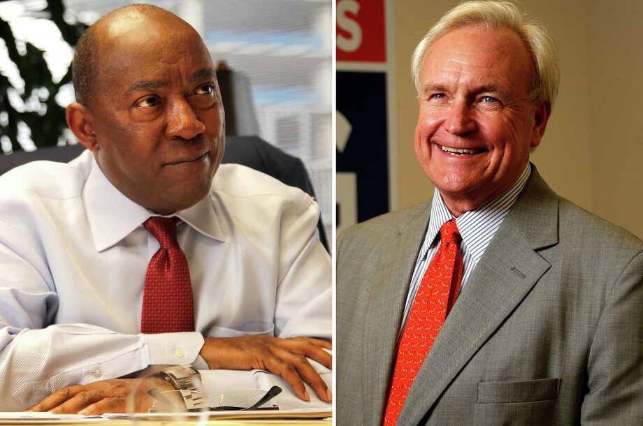 Rep. Sylvester Turner and Bill King debate Saturday night. / © 2015 Houston Chronicle
