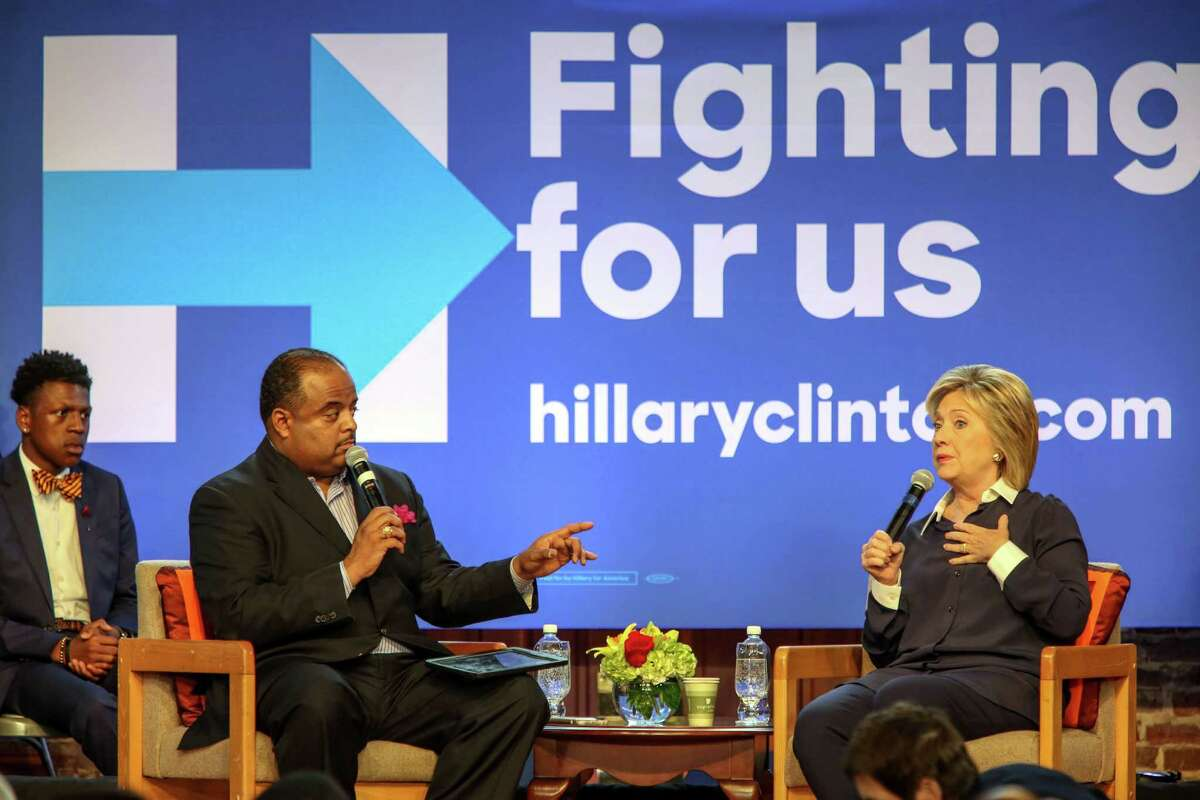 IMAGE DISTRIBUTED FOR TV ONE - Democratic Presidential candidate Hillary Clinton responds to a question from Roland Martin, Host and Managing Editor TV One?'s News One Now during a town hall meeting hosted by the South Carolina Legislative Black Caucus, Saturday, Nov. 7, 2015, at Ministers Hall on the Campus of Claflin University in Orangeburg, SC. (Richard Burkhart/AP Images for TV One)