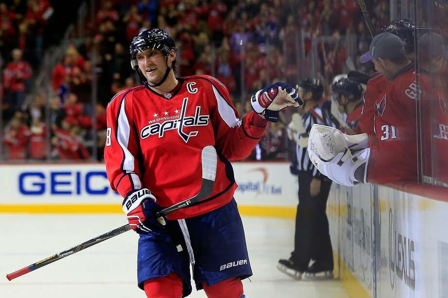 Washington's Alex Ovechkin celebrates after scoring the winning goal in the shootout round. Photo: Rob Carr, Getty Images