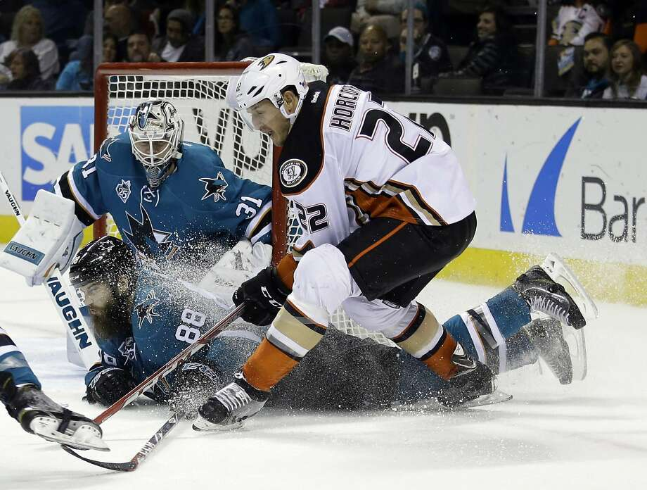 San Jose Sharks' Brent Burns (88) gets in front of a shot from Anaheim Ducks' Shawn Horcoff (22) during the second period of an NHL hockey game Saturday, Nov. 7, 2015, in San Jose, Calif. (AP Photo/Marcio Jose Sanchez) Photo: Marcio Jose Sanchez, Associated Press