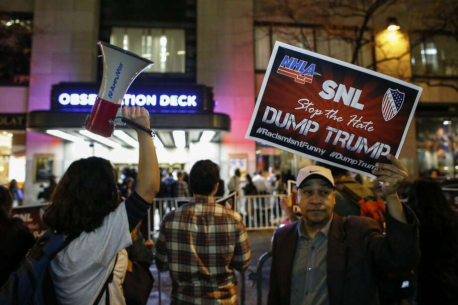 "Protesters rally at NBC studios last week to denounce the network for having GOP presidential candidate Donald Trump host ""Saturday Night Live."" Photo: Kena Betancur, AFP / Getty Images"
