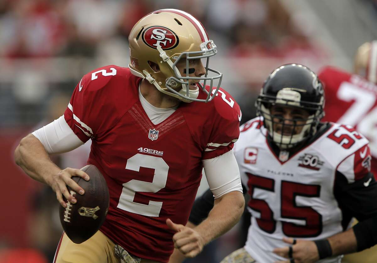 Blaine Gabbert (2) looks to pass downfield in the first quarter as the San Francisco 49ers played the Atlanta Falcons at Levi's Stadium in Santa Clara, Calif., on Sunday, November 8, 2015.