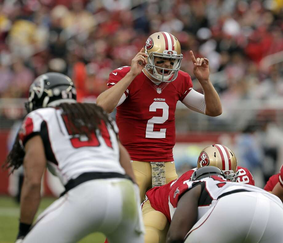 Blaine Gabbert (2) calls an audible in the second quarter as the San Francisco 49ers played the Atlanta Falcons at Levi's Stadium in Santa Clara, Calif., on Sunday, November 8, 2015. Photo: Carlos Avila Gonzalez, The Chronicle