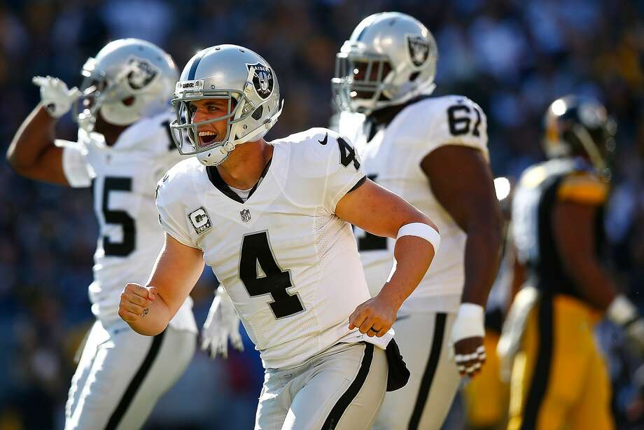Derek Carr has 19 TD passes this year after throwing four against the Steelers. Photo: Jared Wickerham, Getty Images