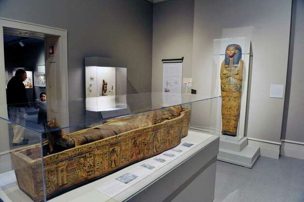 A view of one of the two mummies at the Albany Institute of History and Art during their Mummy Birthday on Sunday, Nov. 8, 2015, in Albany, N.Y.  The event marks the 106th anniversary of the arrival of the mummies to the museum.  This mummy was Ankhefenmut, a priest and sculptor, approximately 3,000 years old.   (Paul Buckowski / Times Union) Photo: PAUL BUCKOWSKI / 00034124A