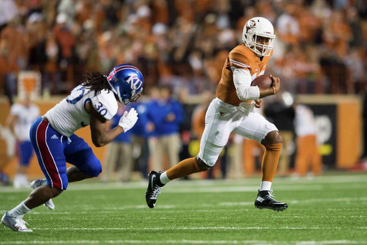 Nothing cures a college football ailment like Kansas. Texas, coming off a 24-0 loss at Iowa State, collected 598 yards of offense and six sacks in a 59-20 spanking of the Jayhawks in Austin. The Longhorns scored at least 50 points for the first time in the two-season Charlie Strong era.