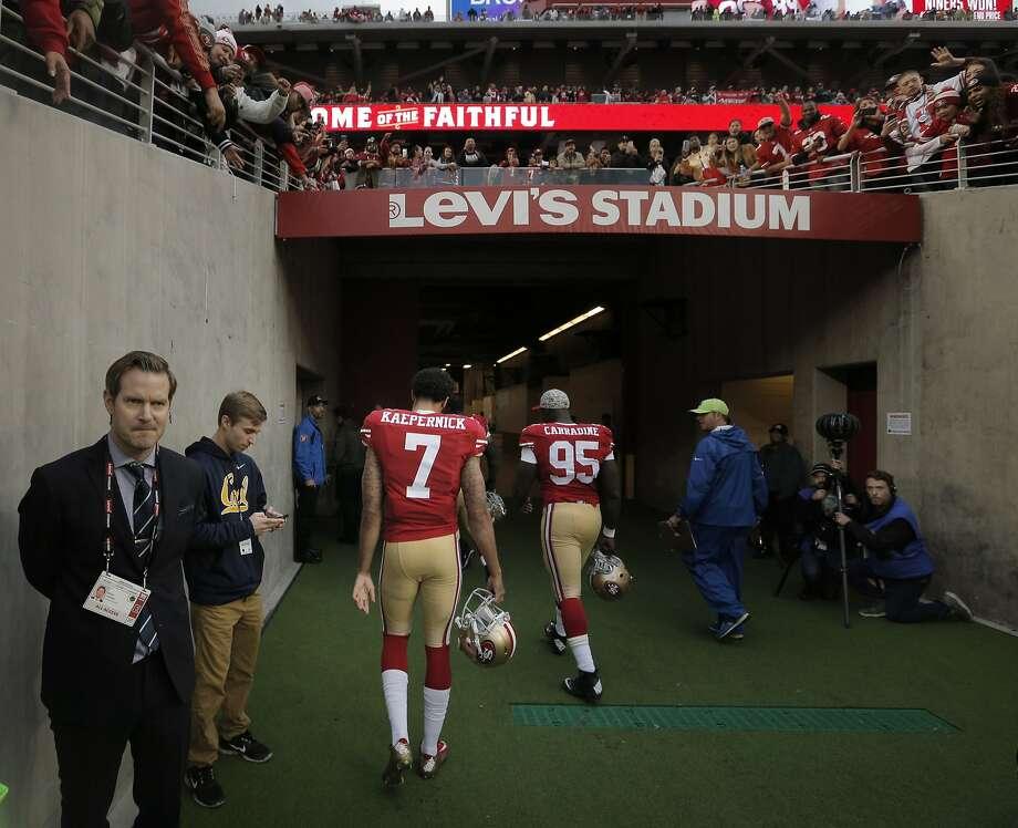 Colin Kaepernick (7) walks off the field toward the locker room as the San Francisco 49ers played the Atlanta Falcons at Levi's Stadium in Santa Clara, Calif., on Sunday, November 8, 2015. Photo: Carlos Avila Gonzalez, The Chronicle