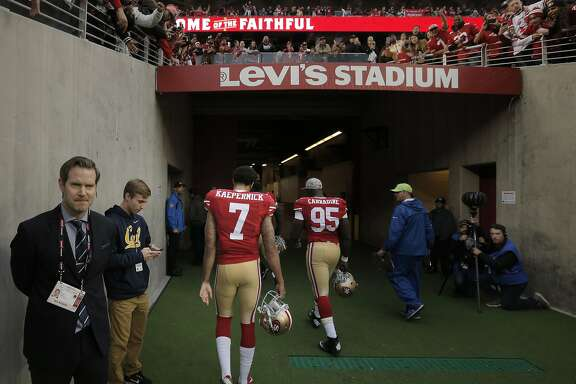 Colin Kaepernick (7) walks off the field toward the locker room as the San Francisco 49ers played the Atlanta Falcons at Levi's Stadium in Santa Clara, Calif., on Sunday, November 8, 2015.
