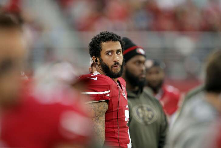 Colin Kaepernick (7) on the sidelines during the fourth quarter as the San Francisco 49ers played the Atlanta Falcons at Levi's Stadium in Santa Clara, Calif., on Sunday, November 8, 2015.