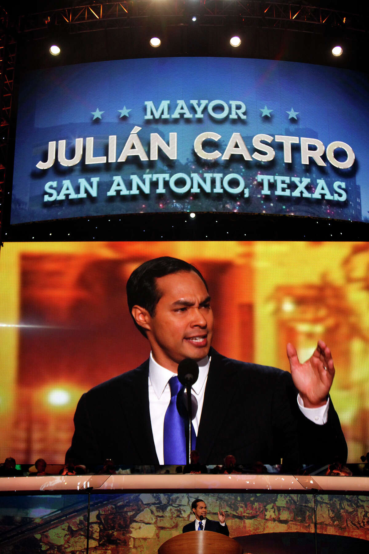 Mayor Julian Castro delivers the keynote address on the first night of the Democratic National Convention at Time Warner Cable Arena in Charlotte, NC on Tuesday, Sept. 4, 2012.
