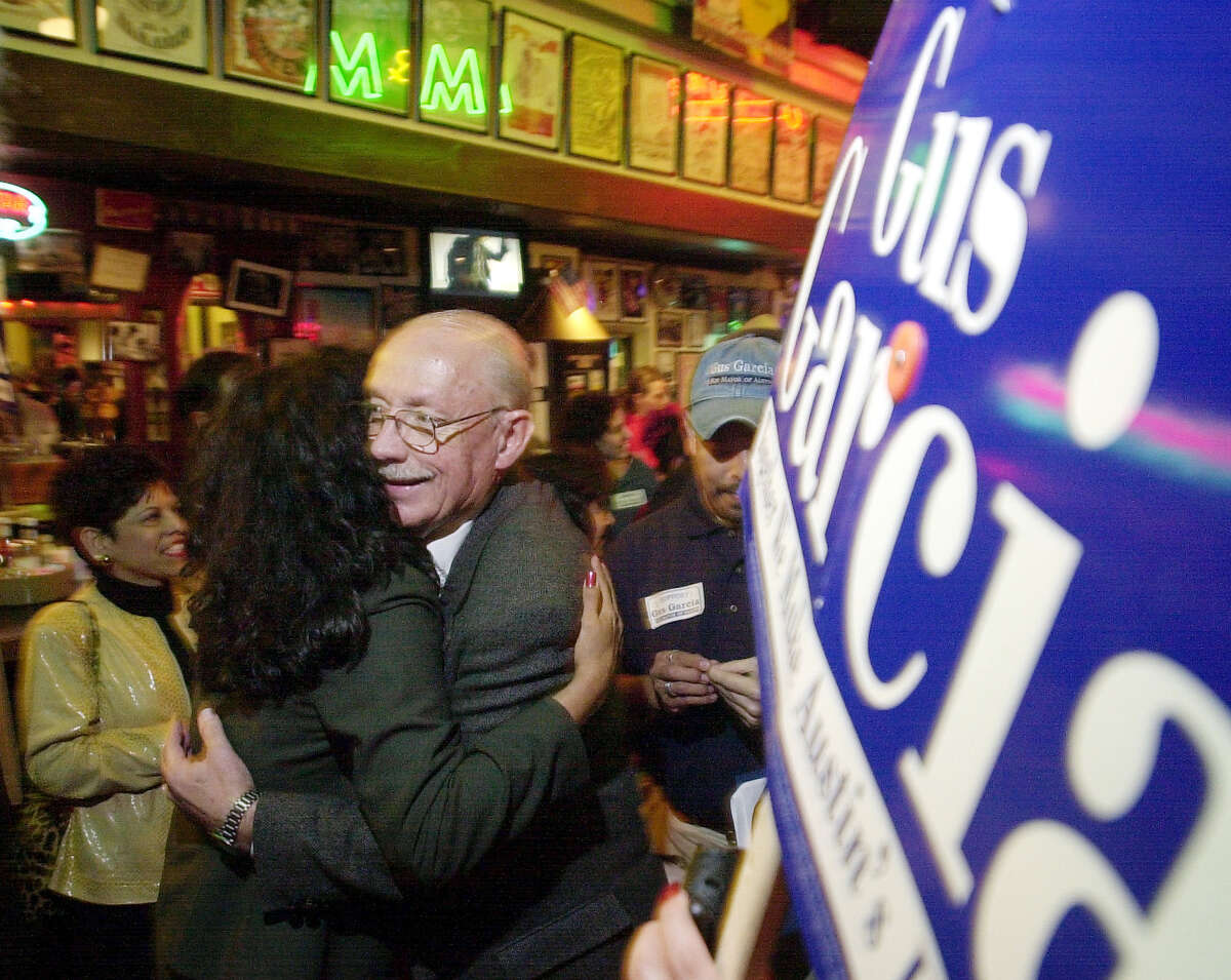 Outside of the big three Texas cities, Gus Garcia, seen at his election party in 2001, was elected mayor in Austin. He served two years.